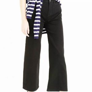 J Crew cropped wide leg black jeans!